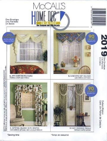 Home Decor Pattern Valances (McCall's 2019 - Home Decor Pattern - Valance, Swag and Drapes (Also Sold As P228))