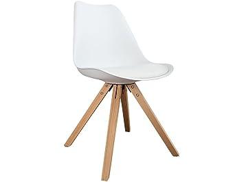 Zolta Retro Esszimmer Stuhl Skandinavisches Design Holz Beinen  Esszimmerstuhl Büro 81x49x41cm (Weiß, 1)