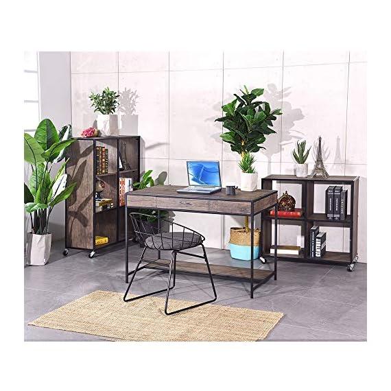 Aingoo Writing Computer Desk with Drawer Industrial Laptop Study PC Workstation Desk Table with Metal Frame for Home… -  - writing-desks, living-room-furniture, living-room - 51HvsS%2BojZL. SS570  -