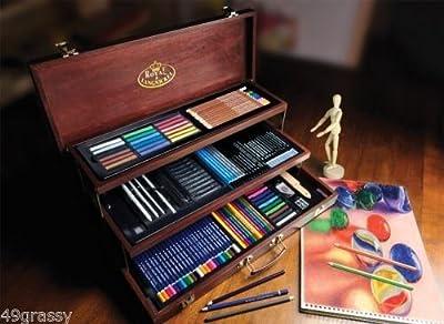 Royal & Langnickel Sketching & Drawing Deluxe Art Set 134 Piece w FINE WOOD CASE