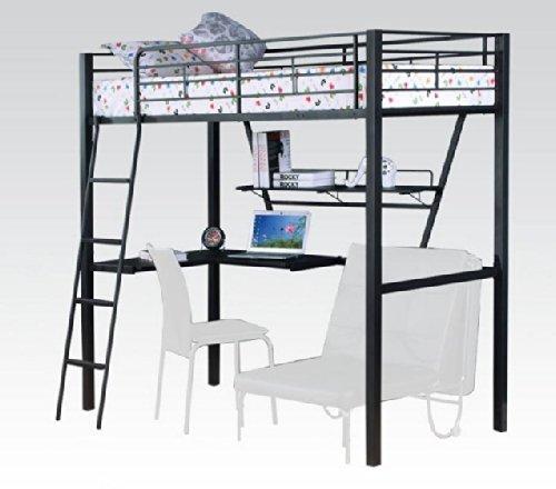ACME Furniture 37275 Senon Loft Bed with Desk, Silver & B...