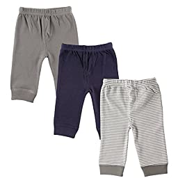 Luvable Friends 3-Pack Tapered Ankle Pants, Grey, 9-12 Months