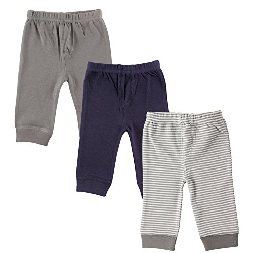 Luvable Friends Baby 3 Pack Tapered Ankle Pants, Grey Stripe, 2T
