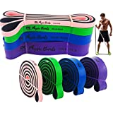 Physix Gear Pull Up Assist Bands - Best Heavy Duty Resistance Band for Assisted Pullups, Muscle Toning, Legs Glutes Crossfit Physical Therapy Stretch Pilates & Yoga - Improve Mobility & Strength -4SET