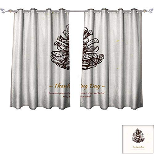 DragonBui Decor Curtains by Hand Drawn Vector Illustration Thanksgiving Day Pine Cone Adjustable Tie Up Shade Rod Pocket Curtain W63 x ()