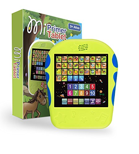 Spanish Learning Tablet Educational Toy for Kids. Touch and Learn Spanish Alphabet Toy for Toddlers - Learn Spanish Numbers, ABC, Spelling, Where is? Game, Melodies, Animals and Sounds