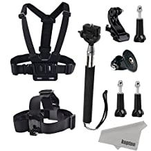 Kupton GoPro Accessories Head Strap Chest Harness Wrist Band Vehicle Suction Cup Bicycle Handlebar Floating Grip Bobber Extendable Handheld Monopod Stick Carrying Case GoPro Battery for GoPro Hero 4 Session Hero 4 3+ 3 2 SJ4000 SJ5000 Action Camera with Kupton Superfine Fiber Cloth ¡