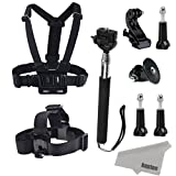 Kupton Accessories Kit for GoPro Head Strap+ Chest Harness+ Selfie Stick Monopod+ Thumbscewfor GoPro Hero 4 Hero 3+ 3 2 1 SJ4000 SJ5000 Action Camera