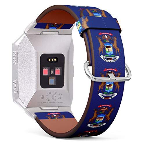 (State Flag of Michigan) Patterned Leather Wristband Strap for Fitbit Ionic,The Replacement of Fitbit Ionic smartwatch Bands ()