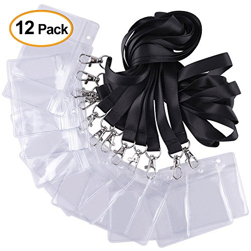 Kuuqa 12 Pack Horizontal Strap Name Badge Holder Card Holder with Black Lanyard for Business]()