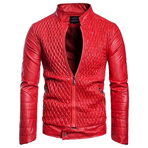 Pu Leather Rojo New Paragraph And B026 States Coat Men's Winter The Jackets United Short Europe Locomotive d5xHdZqaw