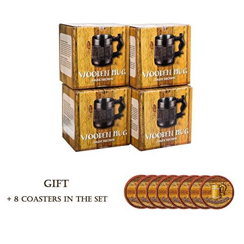 Set of 4 Beer Mugs / Gifts Set of 4 Wooden Beer Mugs / Beer Steins By WoodenGifts - 0.6 Litres Or 20oz Wooden Mugs - Rustic Barrel Design - Stainless Steel Cups (Set of 4 Mugs) by WoodenGifts (Image #1)