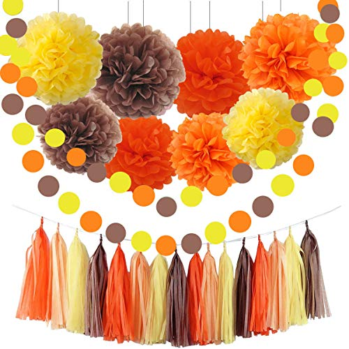 Sorive Fall Party Supplies/Thanksgiving Party Decorations Yellow Orange Brown Pumpkin Color Tissue Pom Pom Tassel Garland Circle Garland for Autumn Party Decortions/Autumn Wedding, Fall Themed Decor -