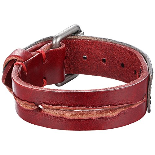 Aoiy Red and Black Strap Cut Leather Cuff Bracelet, Ajustable, Belt Style, Unisex, llb019ho