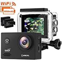 Action Camera, CAMKONG Underwater Camera Wi-Fi Waterproof Sports Action Cam 14MP Full HD Helmet Camera with Dual 1050mAh Batteries and Mounting Accessories Kits for Bike Surfing Diving Skiing etc