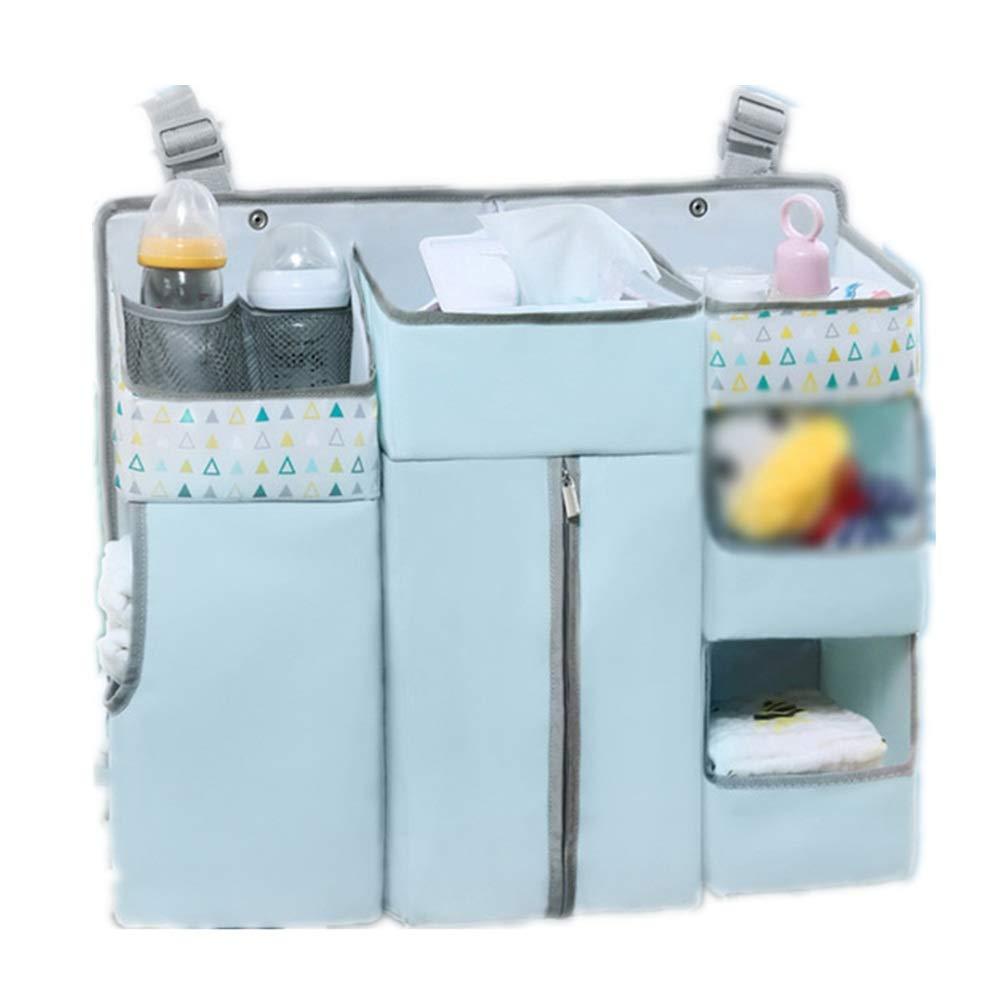 Gralet-home Bed Hanging Organizer Crib Hanging Bag Bed Storage Bag Multi-Function Diaper Storage Bedside Baby Storage Bag Sorting Bag for Baby Cot Bunk Bed (Color : Blue, Size : 60X13X50CM) by Gralet-home