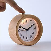HOT Popular Handmade Classic Small Round Silent table Snooze beech Wood Alarm Clock Creative Small Round Classic Wooden Silent Desk Travel Alarm Clock With Nightlight, Silver Birch Finished (Wood Grain)