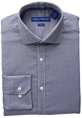 - VINCE CAMUTO Men's Slim Fit Stretch Diagonal Dobby Dress Shirt with Collar, Navy, 15 34/35