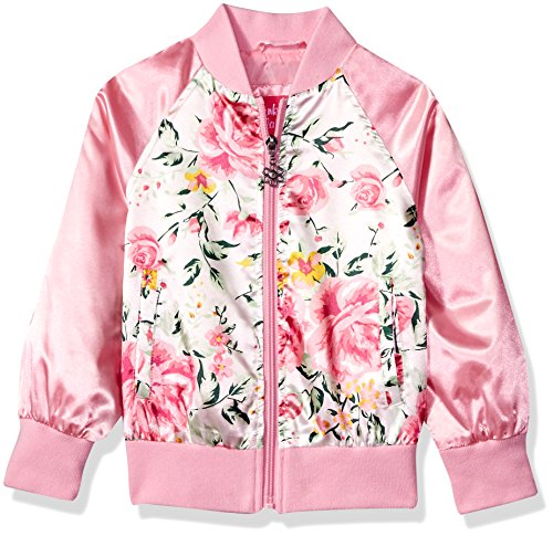 Pink Platinum Big Girls' Striped Floral Satin Bomber, Pink, (Varsity Bomber)