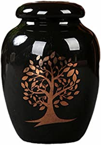 Small Ceramics Urn, Keepsake Urns for Human Ashes,Small Storage Jars for Ashes or Ashes of Pets,Ceramic Cremation urn,Mini Funeral Urn,with Bags (Black)