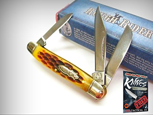 ROUGH RIDER Amber Jigged Bone Small STOCKMAN 3 Blade Folding Pocket Knife! 001194 + free eBook by ProTactical'US