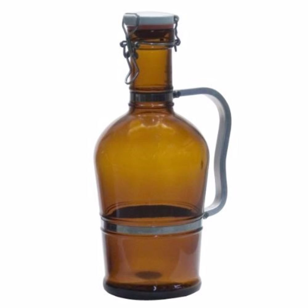2 Liter Growler with Metal Handle- Amber Home Brew Stuff PG2-LT