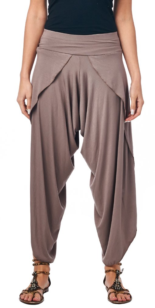 Popana Women's Casual Summer Boho Harem Jogger Pants Gaucho Culottes Made In USA Large Toffee