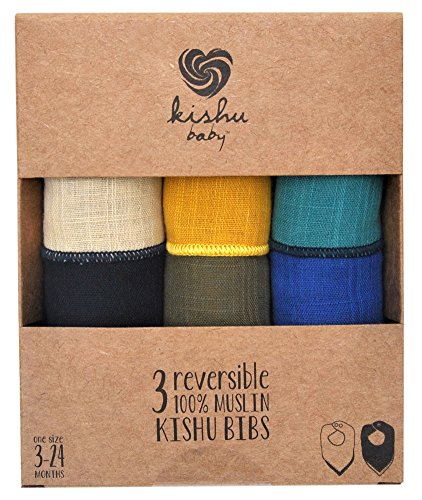 kishu baby Bandana Drool Bibs 3-pack Gift Set, Made In Usa From Premium 100% Cotton Japanese Muslin, Luxuriously Soft, Adjustable Neck, Multicolor, One Size by Kishu Baby