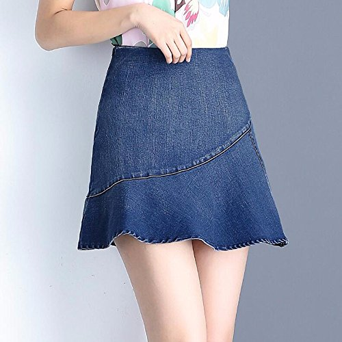 Taille De Lotus Feuille Jupe Demi Jeans Jupe Un Parapluie QPSSP Dress Women's Blue Jupe wBpqEA