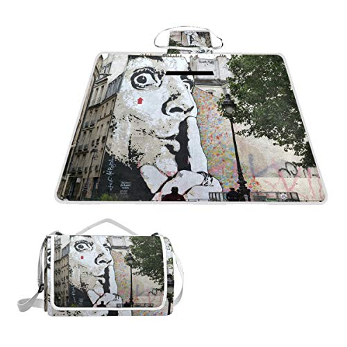 Street Art in Paris Large Picnic Blanket,Picnic Rug Mat 57