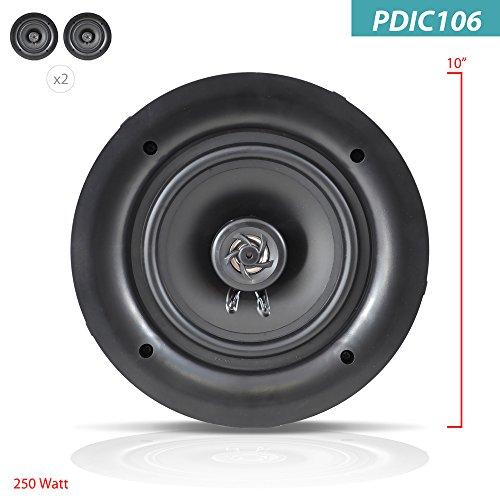 Pyle-PDIC106-In-WallIn-Ceiling-100-Inch-Dual-Stereo-Speakers-250-Watt-2-Way-Flush-Mount-White