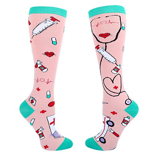 Women's Funny Medical Nurse Socks Crazy Gifts for Nurses, Novelty Over the Calf Knee High Boot Socks in -