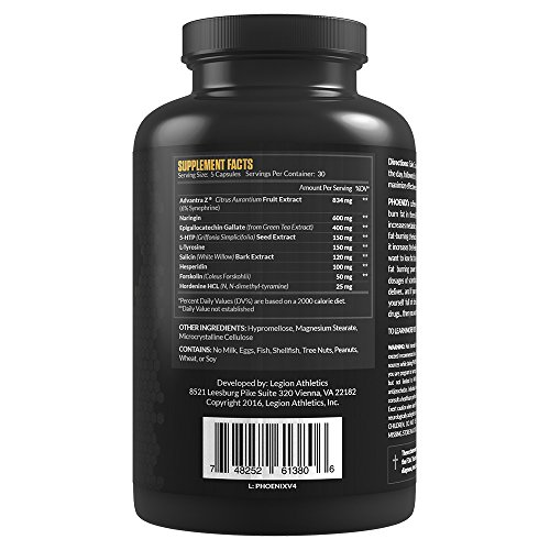 Legion Athletics Phoenix Caffeine Free Fat Burner & Appetite Suppressant for Faster Weight Loss 100% Natural & Scientifically Validated Formulation Including Forskolin, Naringin, & More 30 Svgs