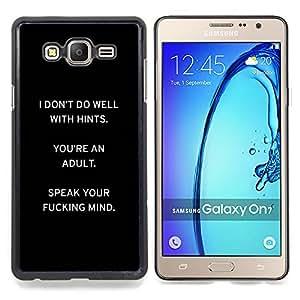 Eason Shop / Premium SLIM PC / Aliminium Casa Carcasa Funda Case Bandera Cover - Ming Inspiring Negro Texto - For Samsung Galaxy On7 O7