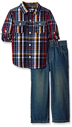 Kids Headquarters Little Boys' Toddler 2 Pieces Woven Shirt with Two Pockets Pants Set, Red/Navy, 4T (Shirt Sleeve Woven)