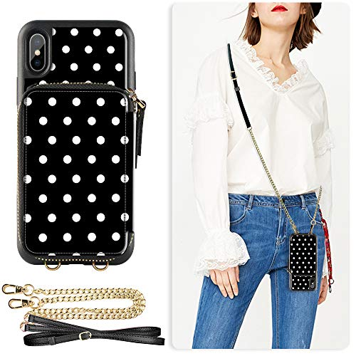 - ZVE Wallet Case for iPhone Xs Max, 6.5 inch, Case with Credit Card Holder Slot Crossbody Chain Handbag Purse Wrist Zipper Strap Case Cover for Apple iPhone Xs Max 6.5 inch - Polka Dots