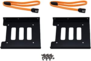 """ZXHAO Metal Mounting Bracket Adapter 2.5"""" to 3.5"""" SSD HDD Hard Disk Drive Bays Holder for PC (Bracket +Orange Sata Cables) 2set"""