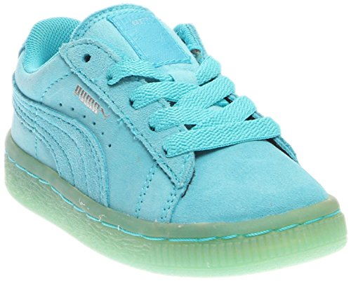 PUMA Suede Classic Iced Kids Sneaker (Infant/Toddler/Little Kid) , Blue Atoll/Puma Silver, 7 M US Toddler (Women Iced Gel)