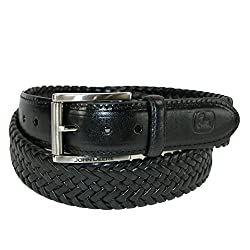 John Deere Mens Leather Braided Comfort Stretch Be