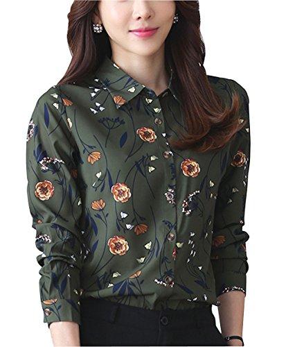 Collared Blouse (Double Plus Open DPO Women's Floral Printed Button Down Shirt Long Sleeve Blouse Jasper 10)
