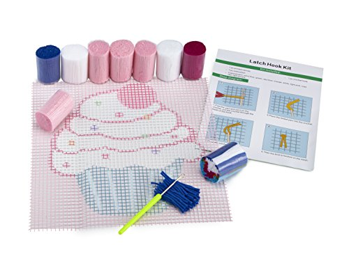 "Cupcake DIY Latch Hook Kit – Sew Your Own 12""x12"" Fuzzy Rug - Includes Canvas, Tool, Instructions, Acrylic Yarn – Crochet and Needlework Crafts for Kids and Adults – by Zirrly ()"