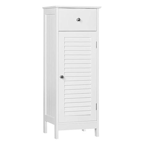 Yaheetech Badezimmerschrank Badschrank Standschrank mit Schublade und Tür  Aufbewahrung Schrank Badezimmer Weiß