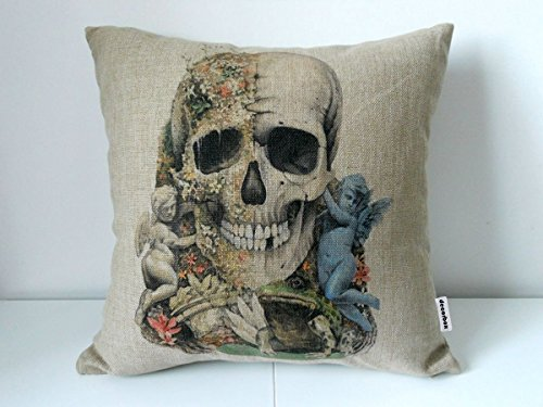 Decorbox Cotton Linen Square Decorative Throw Pillow Case Cushion Cover Angle Skull Frog 18 X18
