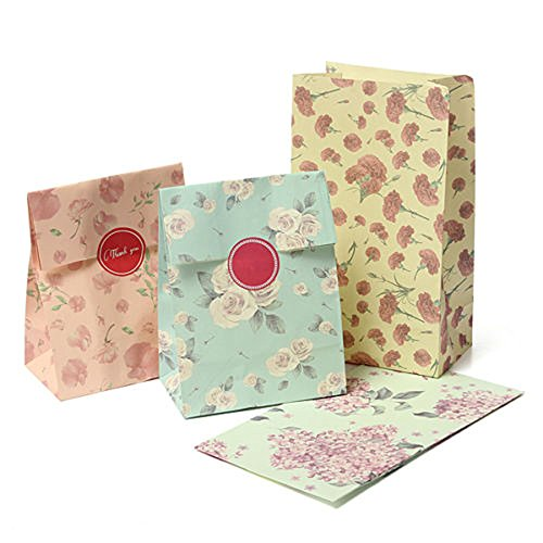 Whitelotous 12pcs Flowers Floral Paper Gift Bag Xmas Party Holiday Cookies (Floral Gift Bags)