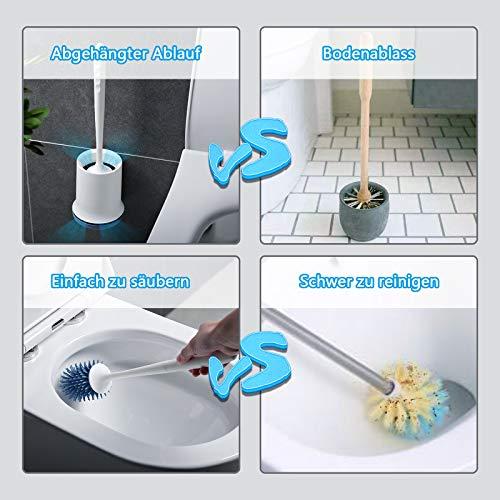 Toilettenbürste,Cshare Silikon WC Bürste mit Halter Wandmontage & Stehen,Langer Stiel klobürste und Schnell Trocknendem Haltersatz für Bad Reinigung und Organisation–Blau