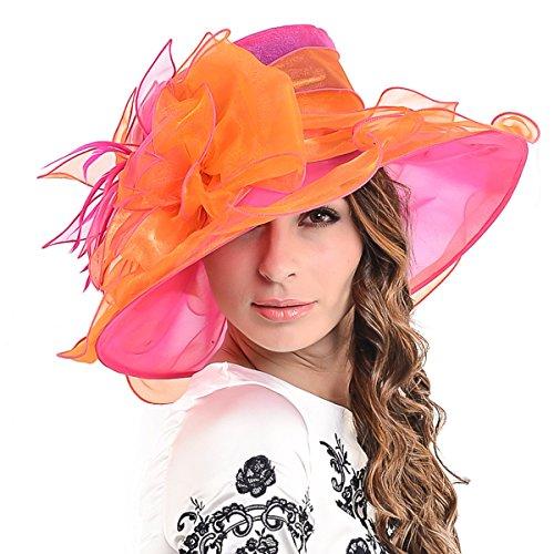 Ladies Kentucky Derby Church Hat Wide Brim Leaf Flower Bridal Dress Hat s037 (Rose&Orange) -