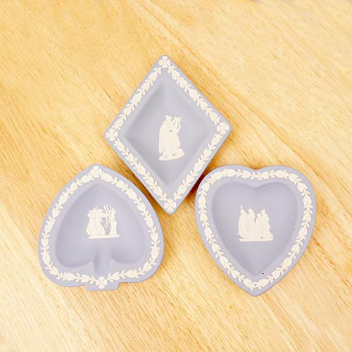 Jasperware Ring - Restored by UKARETRO 3 Ceramic Plates/Ring Jewellery Trays/soap Dishes    Card Suit Shaped Design    Wedgwood    Blue and White Jasperware Plate
