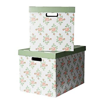 IKEA PINGLA Boxen mit Deckel; in schwarz//naturfarben; ; 2 Stück 56x37x36cm