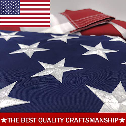 ATHX American Flag 5x8 ft. - Embroidered Stars - Sewn Stripes - Brass Grommets - UV Protected - 240D Heavyweight Oxford Nylon Built for Outdoor Use (5x8 USA Flag)