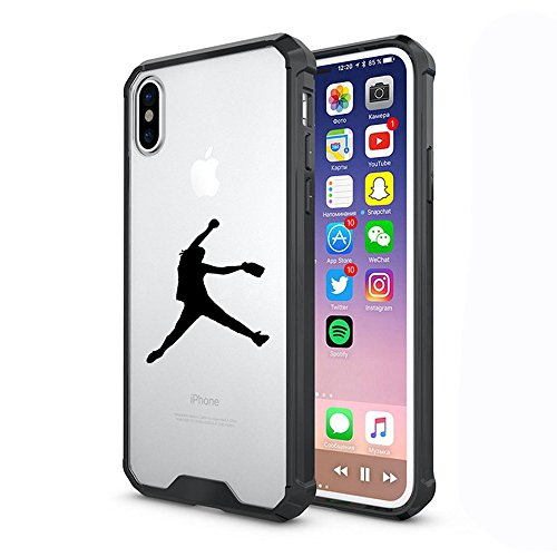 Clear Shockproof Bumper Case Hard Cover F0R Apple iPhone Female Softball Pitcher (Black, F0R Apple iPhone XR)